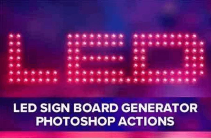 Adobe Photoshop Free Action Material フリー アクション 素材 ピクセル ドット pixel dot Led Sign Board Generator