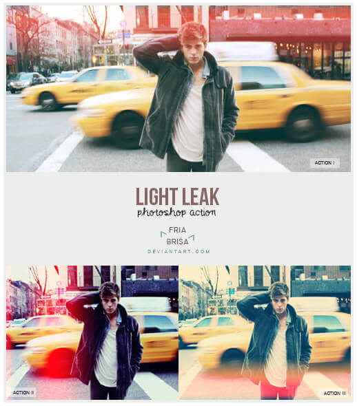 Adobe Photoshop Free Action Material フリー アクション 素材 フィルムカメラ ライトリークス Light Leak - Photoshop Actions (free)