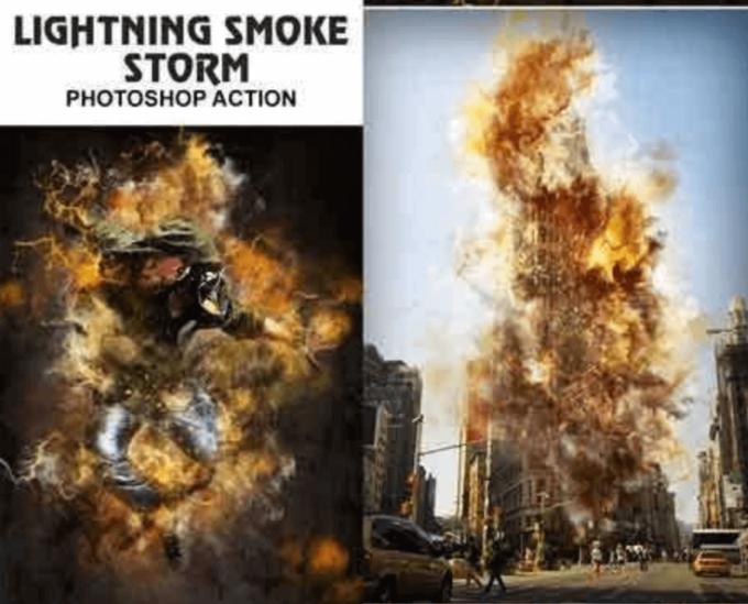 Adobe Photoshop Free Action Material 無料 フリー アクション 素材 ユニーク お洒落 かっこいい 火 炎 ファイヤー Lightning Smoke Storm Photoshop Action