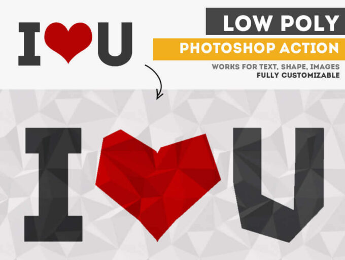 Adobe Photoshop Free Action Material フリー アクション 素材 ユニーク おもしろい LOW POLY FREE PHOTOSHOP ACTION