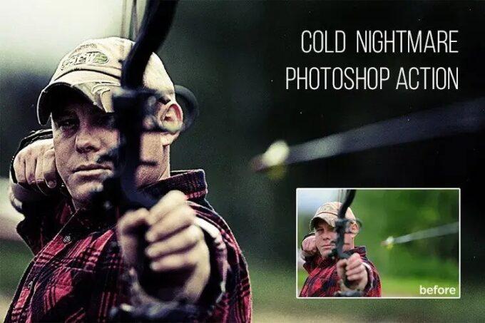 Adobe Photoshop Free Action Material フリー アクション 素材 イラスト ホラー 怖い ハロウィン Cold Nightmare
