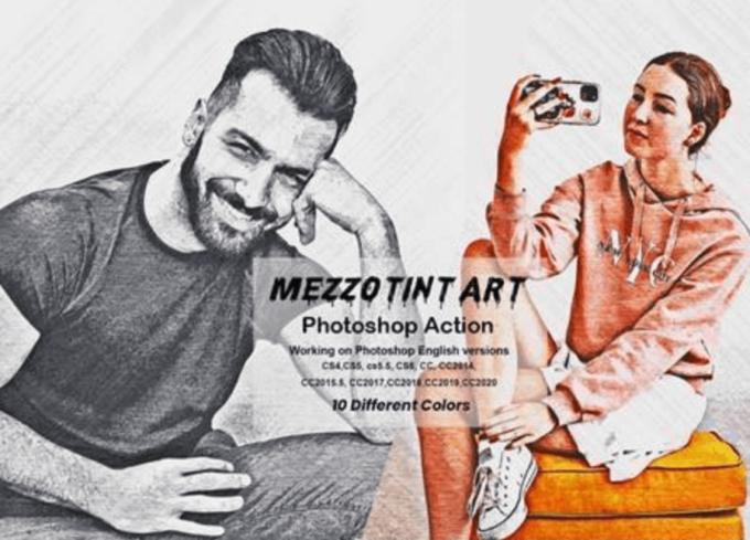 Adobe Photoshop Free Action Material 無料 フリー アクション 素材 ペイント スケッチ 水彩 油絵 イラスト 手書き Mezzotint Art