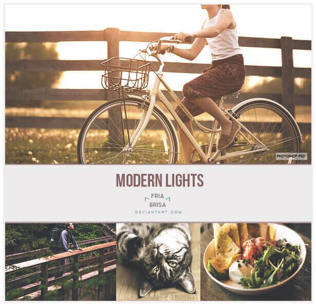Adobe Photoshop Free Action Material フリー アクション 素材 かっこいい お洒落 モダン Modern Lights - Photoshop PSD