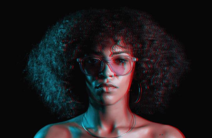Adobe Photoshop Free Action Material フリー アクション 素材 イラスト グリッチ デジタル サイバー かっこいい Neon Lights