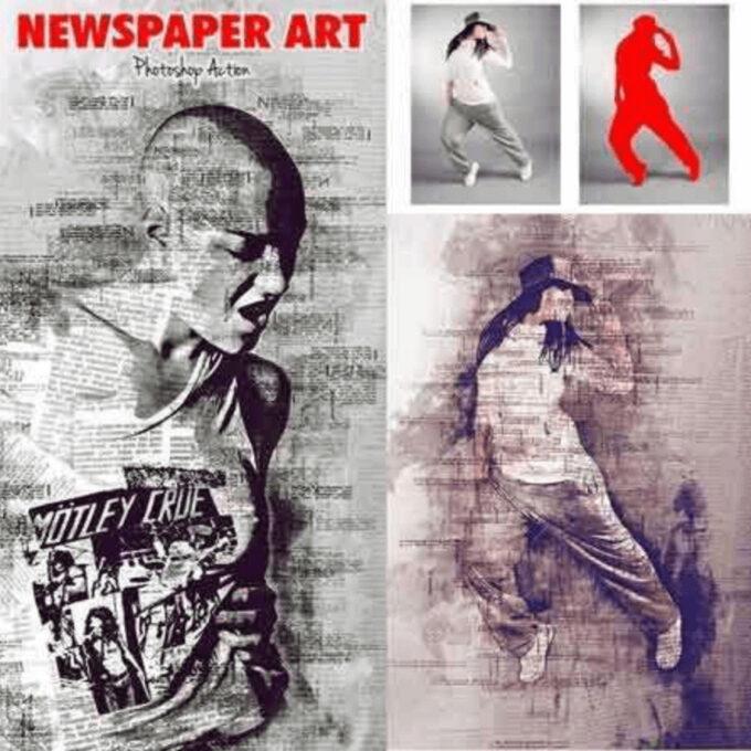 Adobe Photoshop Free Action Material 無料 フリー アクション 素材 お洒落 かっこいい Newspaper Art Photoshop Action
