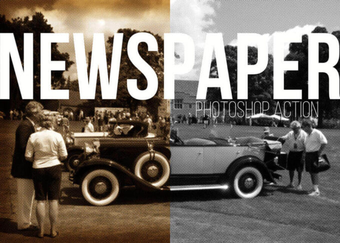 Adobe Photoshop Free Action Material フリー アクション 素材 ヴィンテージ レトロ Newspaper Photo