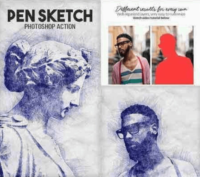 Adobe Photoshop Free Action Material フリー アクション 素材 ペイント スケッチ 水彩 油絵 イラスト 油絵 手書き Pen Sketch Photoshop Action