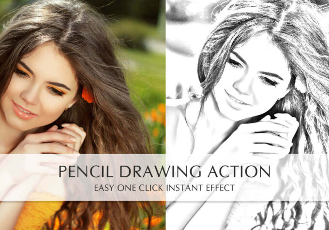 Adobe Photoshop Free Action Material フリー アクション 素材 ペイント スケッチ イラスト 手書き Pencil Drawing Action