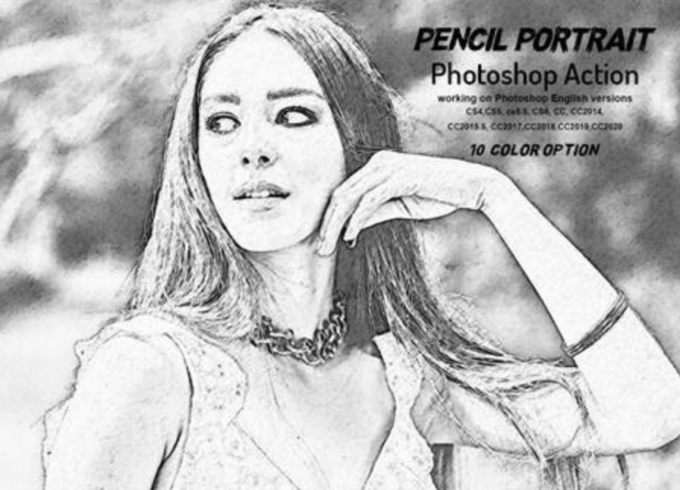 Adobe Photoshop Free Action Material フリー アクション 素材 ペイント スケッチ イラスト 手書き Pencil Portrait Photoshop Action