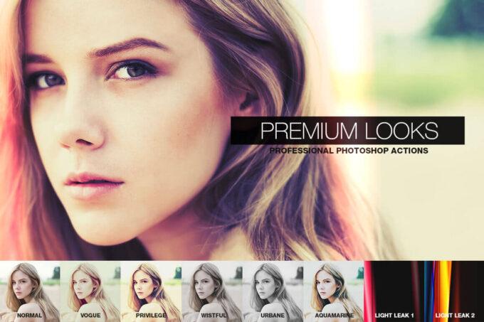 Adobe Photoshop Free Action Material フリー アクション 素材 フィルムカメラ ライトリークス Premium Looks Photoshop Actions