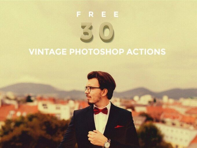 Adobe Photoshop Free Action Material フリー アクション 素材 ヴィンテージ レトロ 30 Free Vintage Photoshop Actions Bundle