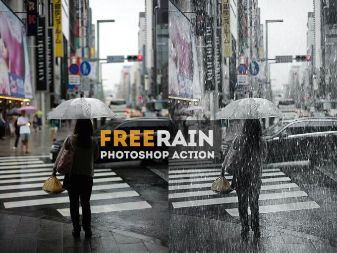 Adobe Photoshop Free Action Material フリー アクション 素材 雨 レイン 合成 Realistic Falling Rain