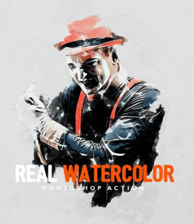 Adobe Photoshop Free Action Material フリー アクション 素材 ウォーターカラー Water Color 水彩 Real Watercolor