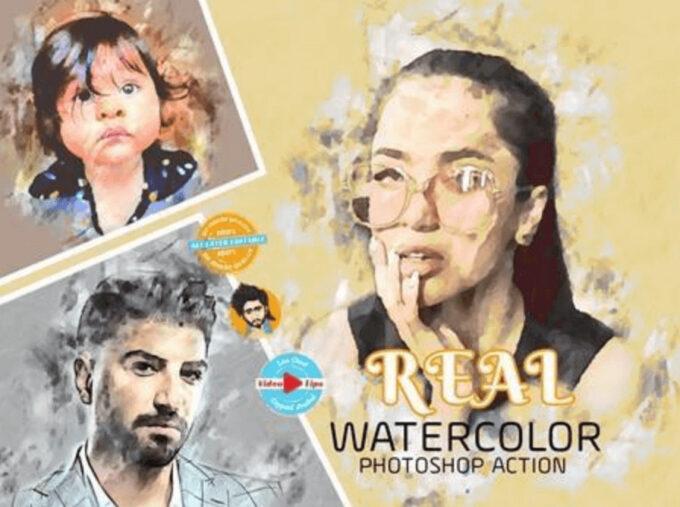 Adobe Photoshop Free Action Material フリー アクション 素材 ウォーターカラー Water Color 水彩 Real Watercolor Photoshop Action
