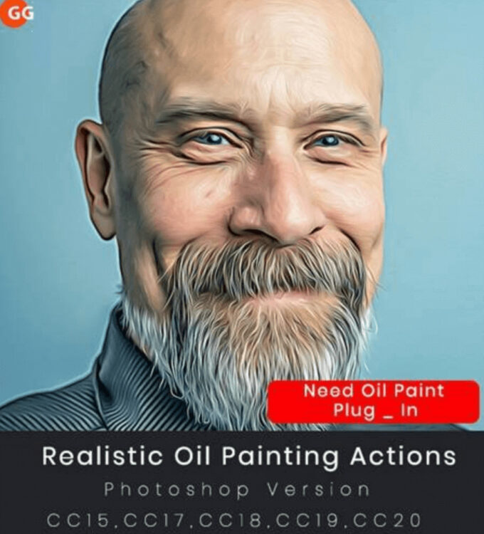 Adobe Photoshop Free Action Material フリー アクション 素材 ウォーターカラー Water Color 水彩 油絵 Oil Paint Realistic Oil Painting Actions
