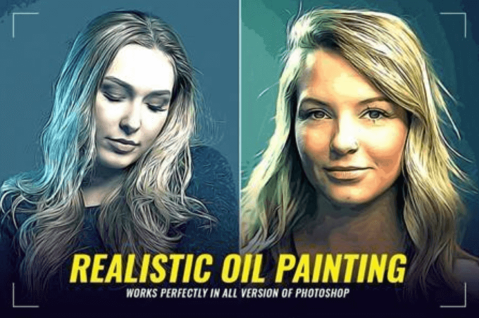 Adobe Photoshop Free Action Material フリー アクション 素材 ウォーターカラー Water Color 水彩 油絵 Oil Paint Realistic Oil Painting