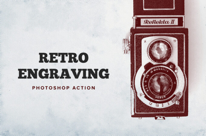 Adobe Photoshop Free Action Material フリー アクション 素材 ヴィンテージ レトロ RETRO ENGRAVING PHOTOSHOP ACTION