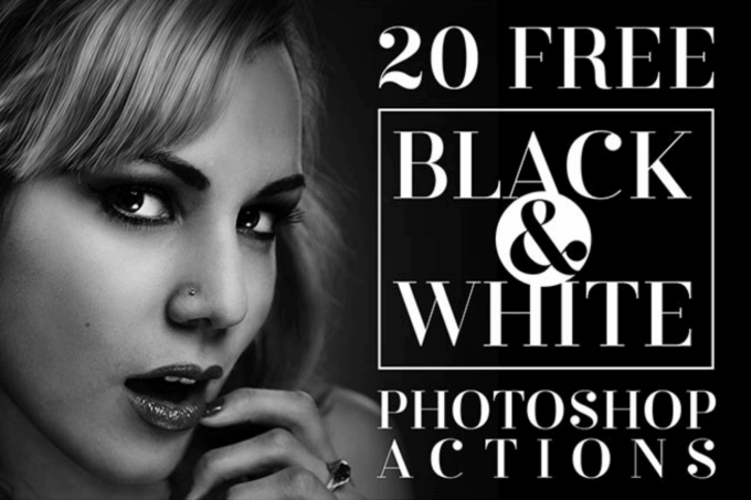 Adobe Photoshop Free Action Material フリー アクション 素材 モノクロ 白黒 20 Free Black & White Photo Effect Actions