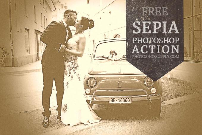 Adobe Photoshop Free Action Material フリー アクション 素材 セピア sepia お洒落 かっこいい ヴィンテージ Sepia Photoshop Filter