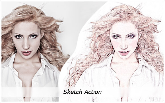 Adobe Photoshop Free Action Material フリー アクション 素材 ペイント スケッチ 水彩 油絵 イラスト 手書き Sketch Action
