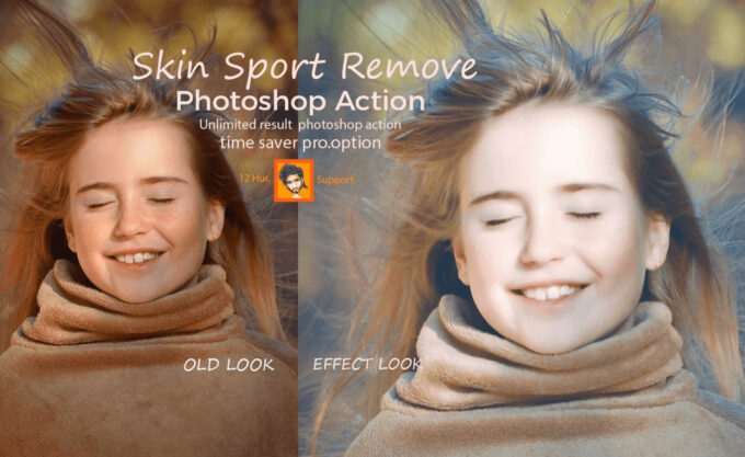 Adobe Photoshop Free Action Material フリー アクション 素材 イラスト スキン 肌 綺麗 加工 合成 Skin Spot Remove