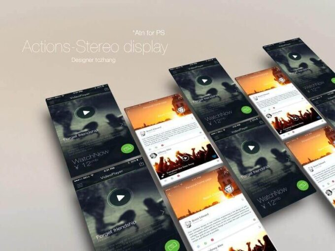 Adobe Photoshop Free Action Material フリー アクション 素材 ユニーク お洒落 かっこいい Stereo display