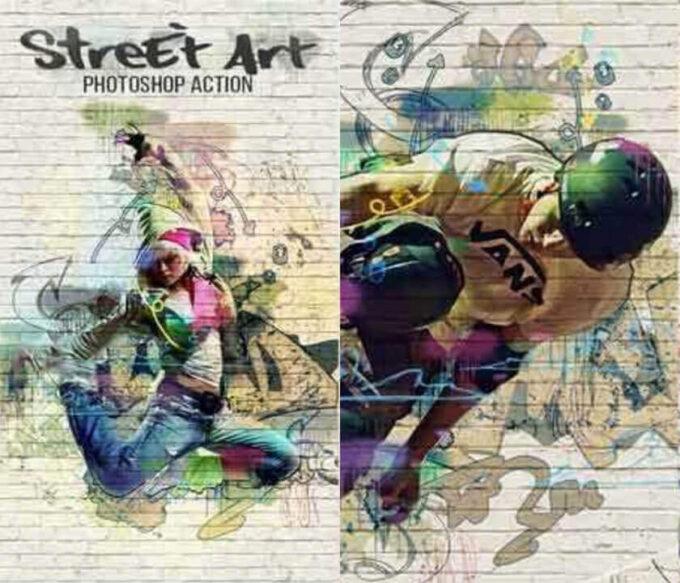 Adobe Photoshop Free Action Material フリー アクション 素材 ペイント スケッチ 水彩 油絵 イラスト 油絵 Street Art