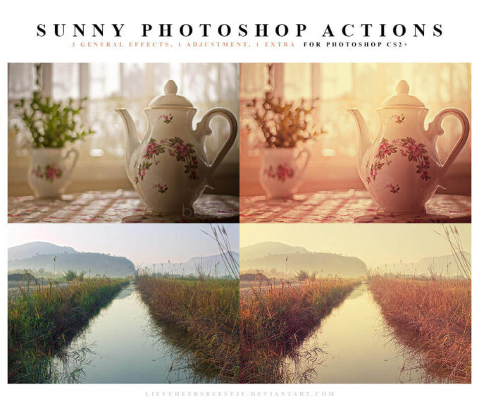 Adobe Photoshop Free Action Material フリー アクション 素材 フィルター インスタグラム Photoshop Actions Sunny