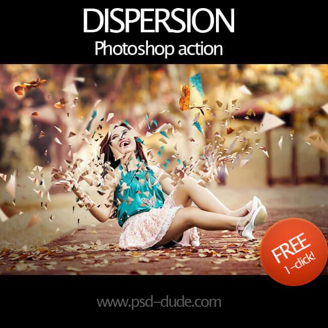 Adobe Photoshop Free Action Material フリー アクション 素材  ユニーク 加工 Dispersion Effect Photoshop Free Action
