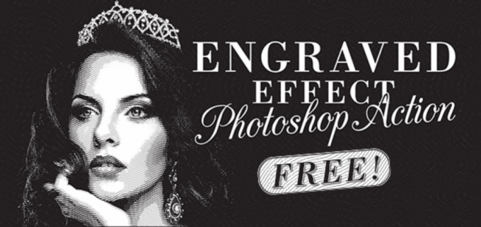 Adobe Photoshop Free Action Material フリー アクション 素材 ヴィンテージ レトロ Free Engraved Illustration Effect Action