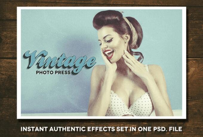 Adobe Photoshop Free Action Material フリー アクション 素材 ヴィンテージ レトロ VINTAGE PHOTO PRESS KIT