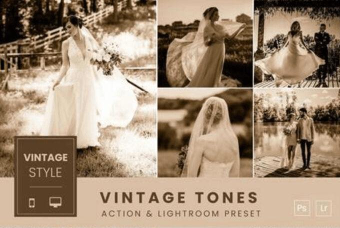 Adobe Photoshop Free Action Material フリー アクション 素材 セピア sepia お洒落 かっこいい ヴィンテージ Vintage Tones Action & Lightroom Preset