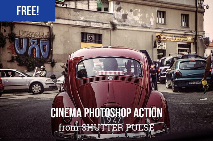 Adobe Photoshop Free Action Material cinema フリー アクション 素材 ヴィンテージ レトロ オールドフィルム シネマ Free Cinema Photoshop Action
