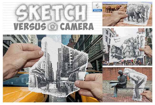 Adobe Photoshop Free Action Material フリー アクション 素材 ペイント スケッチ 水彩 油絵 イラスト 手書き Photoshop Sketch Action
