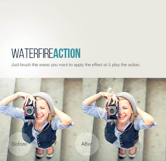 Adobe Photoshop Free Action Material フリー アクション 素材 ユニーク お洒落 かっこいい WaterFire Effect Photoshop Action
