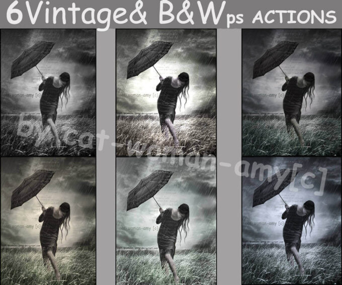 Adobe Photoshop Free Action Material フリー アクション 素材 モノクロ 白黒 White and black ps actions