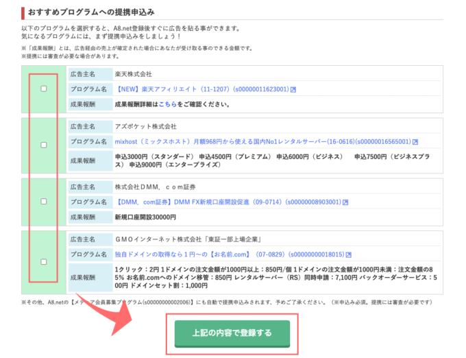 A8.net 登録 AdobeCCセルフバック  入力内容確認・修正