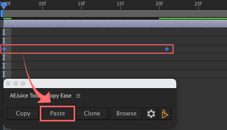 Adobe After Effects AE Juice Copy Ease 無料 プラグイン スクリプト Browse イージングプリセット ペースト