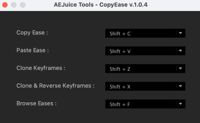 Adobe After Effects AE Juice Copy Ease 無料 プラグイン スクリプト 設定 ショートカットキー