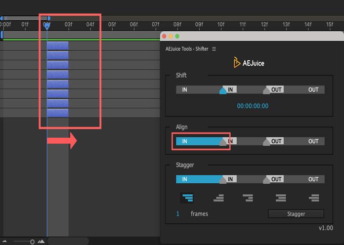 Adobe CC After Effects AE Juice Free Plugin 無料 Shifter 機能 使い方 解説 ツール  Align IN
