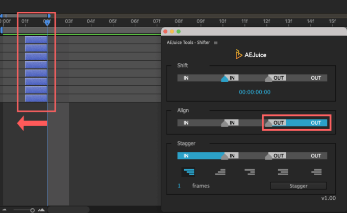 Adobe CC After Effects AE Juice Free Plugin 無料 Shifter 機能 使い方 解説 ツール  Align OUT