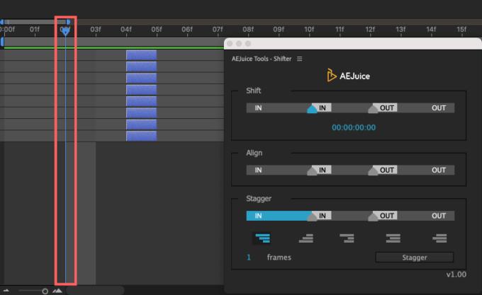 Adobe CC After Effects AE Juice Free Plugin 無料 Shifter 機能 使い方 解説 ツール  Align 時間インジケーター