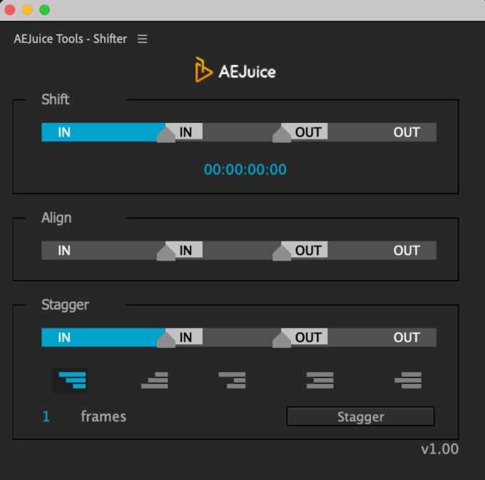 Adobe CC After Effects AE Juice  Shifter 機能 使い方 解説 ツール パネル 無料