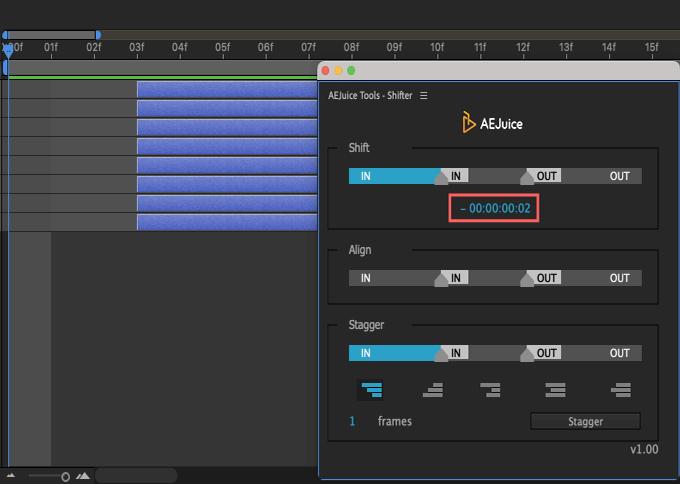 Adobe CC After Effects AE Juice Free Plugin 無料 Shifter 機能 使い方 解説 ツール  Shift レイヤー フレームレート マイナス