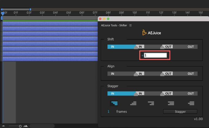 Adobe CC After Effects AE Juice Free Plugin 無料 Shifter 機能 使い方 解説 ツール  Shift フレーム数