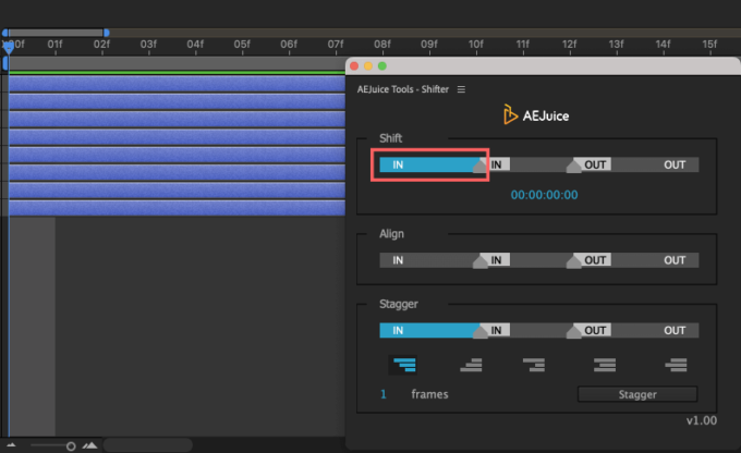 Adobe CC After Effects AE Juice Free Plugin 無料 Shifter 機能 使い方 解説 ツール  Shift IN