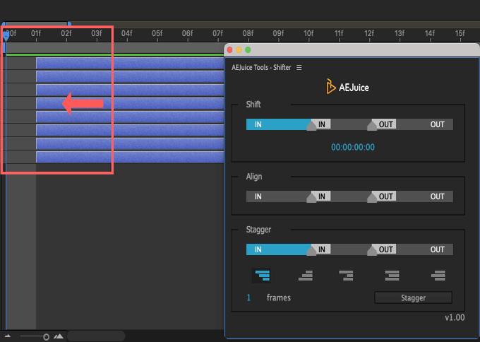 Adobe CC After Effects AE Juice Free Plugin 無料 Shifter 機能 使い方 解説 ツール  Shift レイヤー フレームレート マイナス 移動