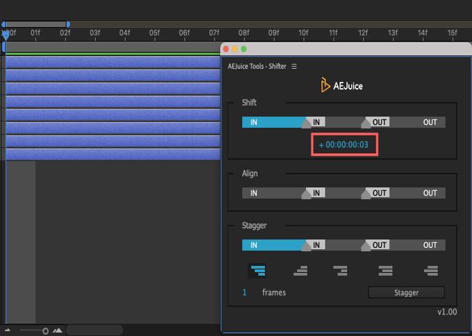 Adobe CC After Effects AE Juice Free Plugin 無料 Shifter 機能 使い方 解説 ツール  Shift レイヤー 移動