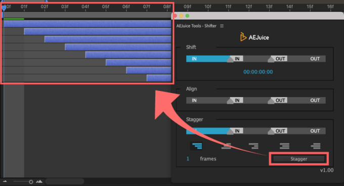 Adobe CC After Effects AE Juice Free Plugin 無料 Shifter 機能 使い方 解説 ツール  Stagger