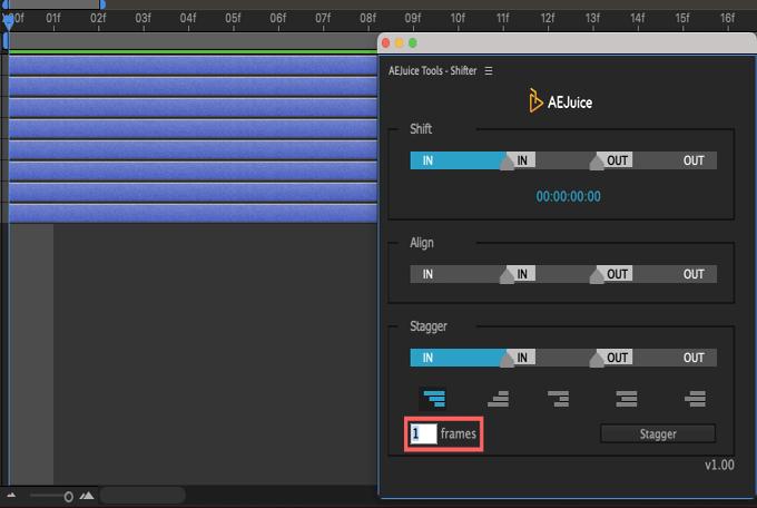Adobe CC After Effects AE Juice Free Plugin 無料 Shifter 機能 使い方 解説 ツール  Stagger フレーム数